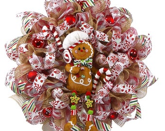 Gingerbread Wreath - Gingerbread Decor - Holiday Decor - Front Door Wreath -  Christmas Decor - Christmas Gift - Holiday Gifts