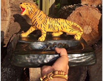 Large Vintage Handmade/Hand Painted Ceramic and Metal Tiger Ashtray