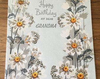Vintage | Happy Birthday | Grandma | Floral | Greeting Card