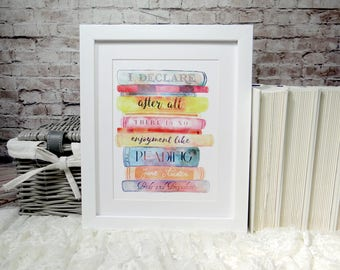 Jane Austen Literary Quote Wall Art Print, Pride and Prejudice, Literary Gifts, Watercolour Books Art Print, Bookworm for Her, Library