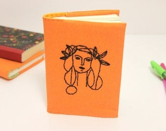 Hand embroidered Picasso A6 notebook cover, handmade journal, diary cover, reusable notebook cover, gift for women
