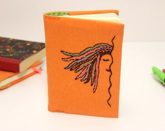Orange fabric journal cover hand embroidered notebook, fabric book cover, embroidered journal, a6 notebook, gift for women