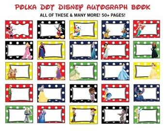 Polka Dot Disney Autograph Book Printables - Over 50 Characters - Disney signature book - Disney World - Disneyland - Princess Printables