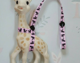 Sophie The Giraffe Harness Leash Saver Strap Pink Ribbon with Black Poodle Dog and Black Poppers
