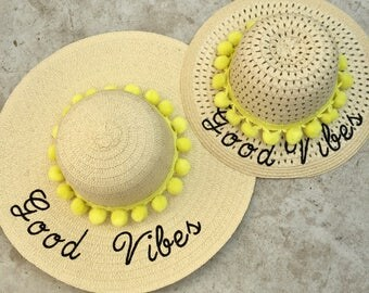 Floppy beach hat set embroidered - good vibes only- girls hat - set of two paper straw hats - mom and daughter - mommy and me - matching set