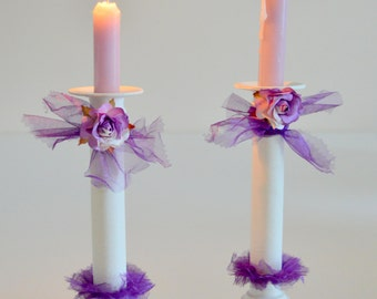 Hand Painted Pair White Purple Tutu Rose Ribbon Candlesticks Holder Shabby Chic Tabletop Candlestick Holders Ornate Free Local Delivery
