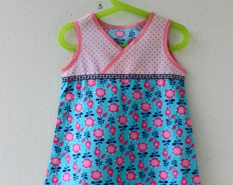 Toddler Dress, Dress, Cotton Dress, Blue Cotton Dress with Flowers