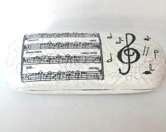 Case for glasses with musical notes, Sunglasses case hard, Hard case for glass, Eyeglasses case, Glasses case accessory,Case glasses holder