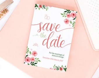 Pink Blossom Save the Date/Wedding Announcement Cards