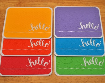 Hello Greeting Card Set, Embossed Note Cards, Rainbow Note Card Set, Blank Note Cards, Thinking of You, Colorful Cards - Set of 6