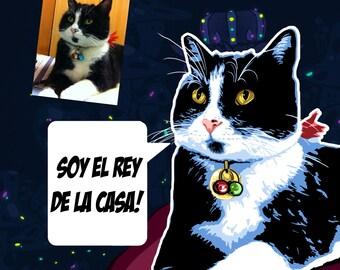 Cat portrait, custom pet portraits, custom pet portrait, home decor, custom cat portrait, cat painting, cat lover gift, custom portrait, cat