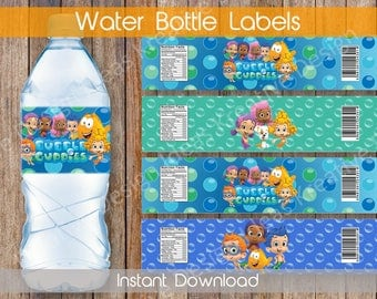Bubble Guppies Water Bottle Labels Bubble Guppies Bottle Labels or Stickers Bubble Guppies Party Theme Birthday Party INSTANT DOWNLOAD