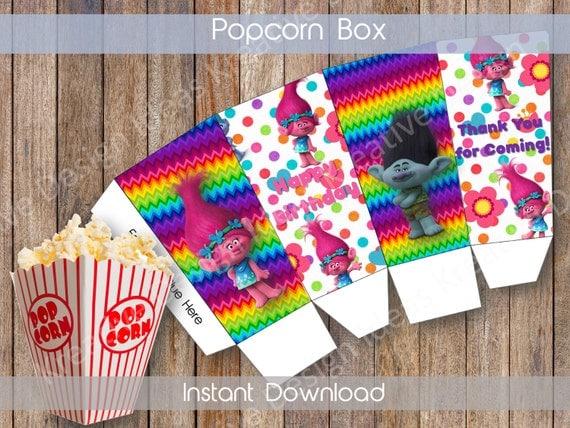 Neon Trolls Printable Popcorn Box