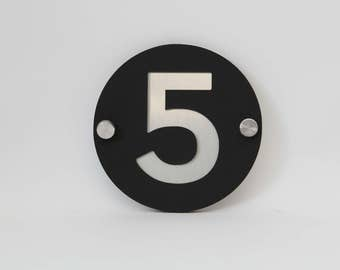 Custom house numbers / address made from Brushed Aluminium with Matte Black Perspex