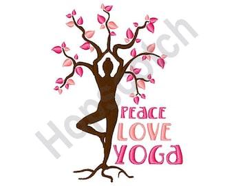 Peace Love Yoga - machine embroidery design