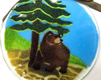 Olympic National Park Bear Fused Glass Suncatcher Christmas Ornament