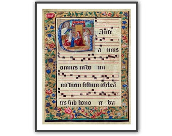 Renaissance Medieval Illuminated Music Manuscript Page Print Book Plate Religious Chant Poster Old Musical Home Decor Wall Art aj 120