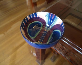 Art Pottery Bowl signed ILLUMS BOLIGHUS Denmark Hand Painted Limited Edition