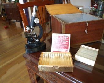Vintage Monolux Microscope 100x, 200x, 300x and Micro Slides