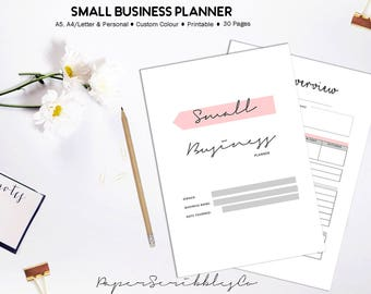 Business Planner Printable, Home Business, Small Business, Etsy Business, A5 Planner Inserts,  Custom Colour, Business Printable Binder