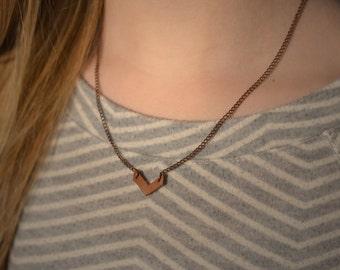 Mini Leather Chevron and Chain Necklace