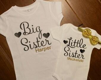Big Sister shirt, Little Sister bodysuit, Big Sister Little Sister shirt set. Big Sister, Little Sister, Sibling Shirt, Big Sister Shirt
