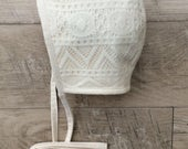 Lace baby bonnet / baby bonnet / brimless sun bonnet /cotton lining bonnet /cream lace bonnet / lace baby hat
