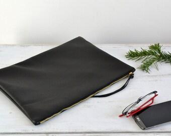 Leather CLUTCH Bag, Wedding clutch, Leather purse, Evening Bag, Large Black Leather Clutch, Leather Case - NEW YORK -
