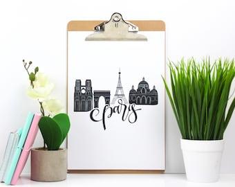 Paris Print - Print Of Paris | City of Paris Wall Art | Paris France | Gift For Paris Lovers | Paris Love Gift | Black And White Art Print