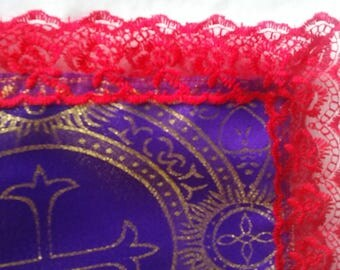 Red and Purple  with metellic gold highlights Scarf