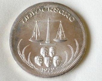 1972 Universaro World Trade One Troy Ounce .999 Silver