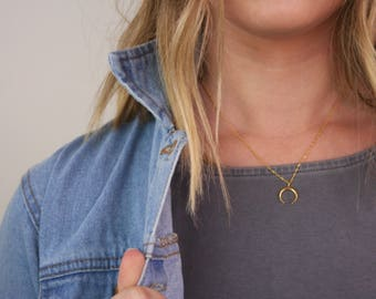 Gold Horn Necklace, Gold Moon Necklace, Horn Necklace, Moon Necklace, Gold Horn, Gold Moon, Silver Horn Necklace, Silver Horn, A19A