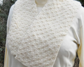 white hand knit wool scarf, unisex