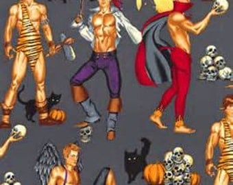 Alexander Henry Halloween Hunks Woven Cotton Fabric - By the Yard