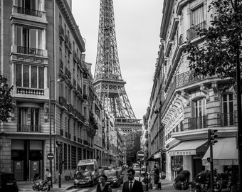 Eiffel Tower Paris street scene, black and white photograph