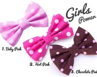 Pink Polka Dots Dog Bow Tie