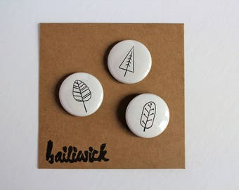 tree pins, trees, leaves, pin pack,pins, tree buttons, accessories, black and white accessories,