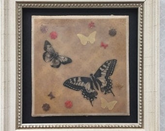 Butterflies in gold. Encaustic beeswax painting, original painting.