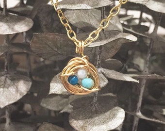 Nest necklace Gold or silver wire wrapped