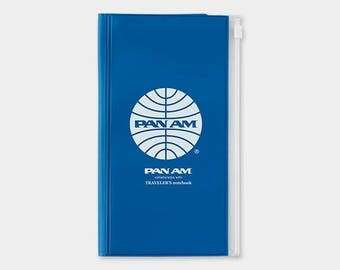 Pan Am x Traveler's Notebook Zipper pocket Case Regular size 14357006 Midori Limited Blue Edition TRAVELER'S COMPANY Rare Made in Japan Sale