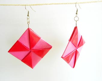 Earrings of paper.  square, pink red