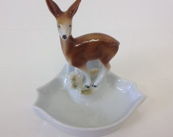 Vintage Deer Trinket/Pin Dish by Porzellanfabrik Carl Scheidig Gräfenthal Porcelain Woodland Creature  Made in Germany 1935-1972 Backstamp