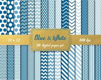 Blue digital paper pack Polka dot Chevron Lined Scrapbook paper Blue Striped pattern Blue Printable paper Baby blue scrapbook paper