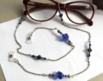 Eyes glasses cordon blue Bead chain Swarovski crystal glasses cord attaches glasses