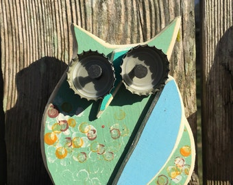 "Mixed Media Wooden Owl ""Chloe"""