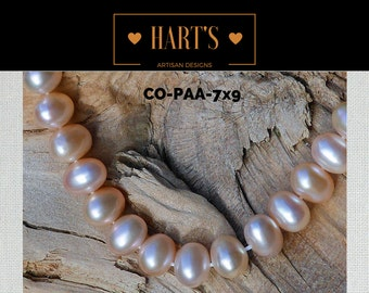 Pink Cultured Pearl Strand Necklace Silk Hand Knotted  COPAA-7x9