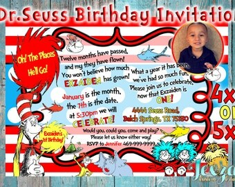 Dr Seuss Invitation | Cat In The Hat Invitation | Cat In The Hat Party | Dr Seuss 1st Birthday | Dr Seuss Party | Dr Seuss | Thing 1 & 2