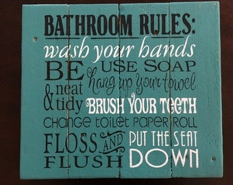 Bathroom Rules bathroom rules sign | etsy