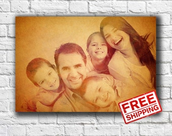Family portrait Personalized gift Custom portrait on canvas Print on canvas