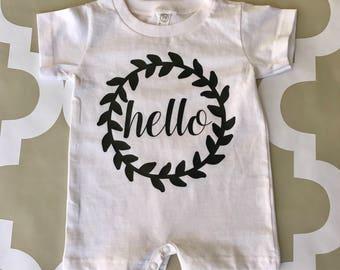 Hello Baby Onesie, girl, infant, cute, adorable